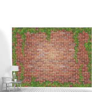 ветры плюща на красном фоне кирпичной стены