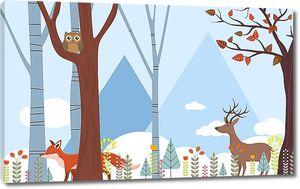 Олень и лиса в абстрактном лесу