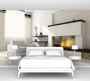 Интерьер зала с камином и мягкое кресло