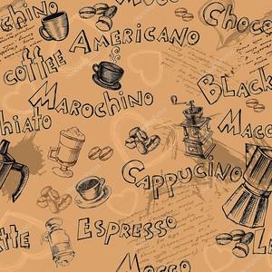 Бесшовные имена кофе фон