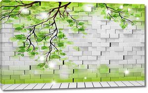 Береза нарисованная на кирпичной стене