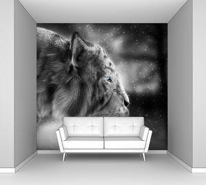 Белый тигр преследует его добычу снег Зимний фон