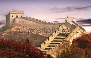 Фото Великой китайской стены в облаках