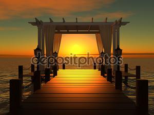 Свадьба беседка на деревянный пирс в море с солнце на закате