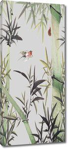 Птичка в зарослях бамбука
