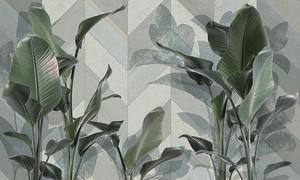 Большие листья на геометрическом фоне