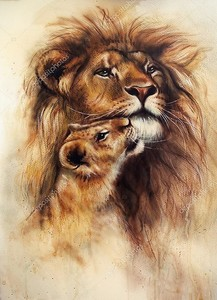 красивая аэрографа живопись любящий Лев и детеныш ее ребенка