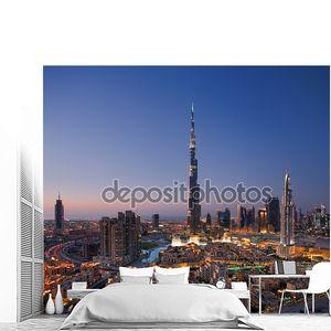 горизонты города Дубай Бурдж Халифа и Дубай фонтан