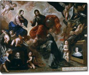 Каро Франсиско. Святой Франциск в Порциункуле и донаторы Антонио Контрерас и Мария Амескита