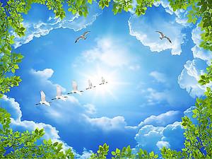 Косяк журавлей в небе