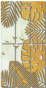 Резные пальмовые листья с птицами