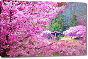 Беседка в саду с сакурой