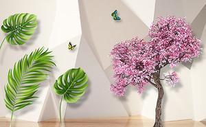 Розовое дерево с пальмовыми листьями