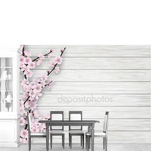 розовый цветок Весна вишней на белом фоне старого дерева