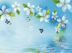 Синий фон, вода, цветы и бабочки