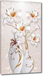 Лилии в белых вазах