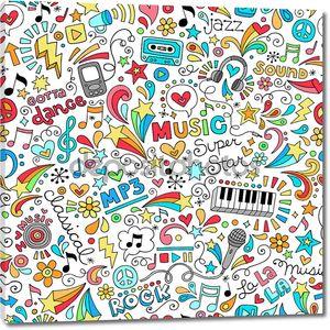 Музыка ноутбука Doodles бесшовные векторные иллюстрации