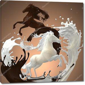 Черный и белый шоколад в виде фигур коней