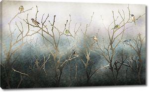 Голые ветви с птицами