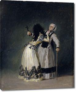 Гойя и Лусиентес Франсиско. Герцогиня Альба и ее дуэнья