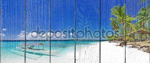 Тропический пляж сцена с лодки
