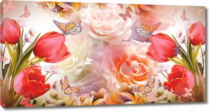 Розы, тюльпаны и бабочки