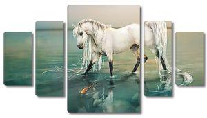 Белый конь в воде