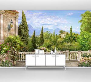 Вид на зеленый большой сад
