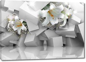 Лилии в нагромождении кубов
