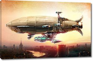 Дирижабль в небе над городом