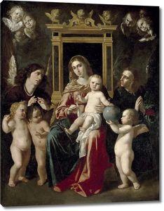 Херонимо Хасинто Эспиноса. Мадонна с Младенцем на троне с ангелами