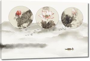 Круги с лотосами на фоне гор