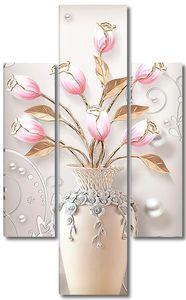 Тюльпаны в вазе с бусинами