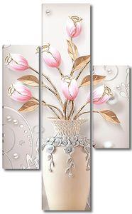 Тюльпаны в вазе с перламутром