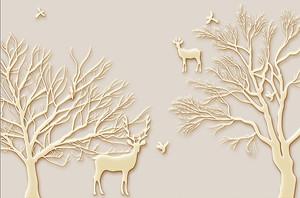 Деревья и олени из кости