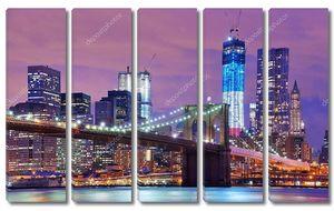 Бруклинский мост с панорамой Манхэттена