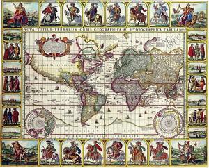 Старая карта с множеством картинок