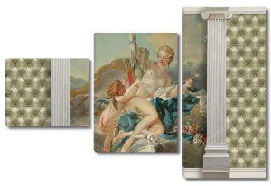 Картина Венера и Купидон Буше в обрамлении колонн