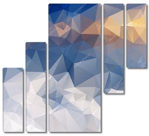 Вектор полигональных фон треугольной дизайн в зимних гор цвета - белый, синий, желтый