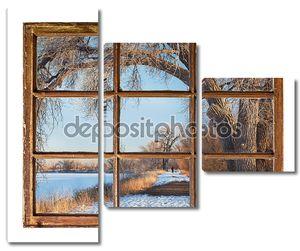 Зимний парк сцена из старого окна кабины