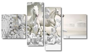 Лошади у разрушенной стены