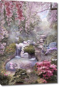 Вид на водопад в цветах