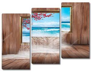 Морская вода падает через окно в деревянной стене на деревянный пол