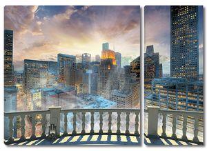 Ночной современный город с террасы