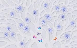 Текстурированные дерево с синими бутонами роз