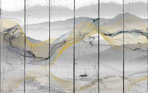 Желтые линии на фоне озера