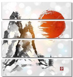 Горы и Красное солнце рисованной