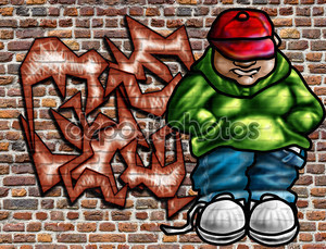 Граффити на стене с мальчишкой в бейсболке