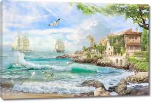 Южный городок на берегу лазурного моря