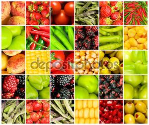 Коллаж из многих различных фруктов и овощей
